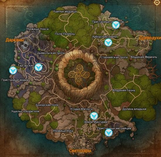 Карта расположения боссов